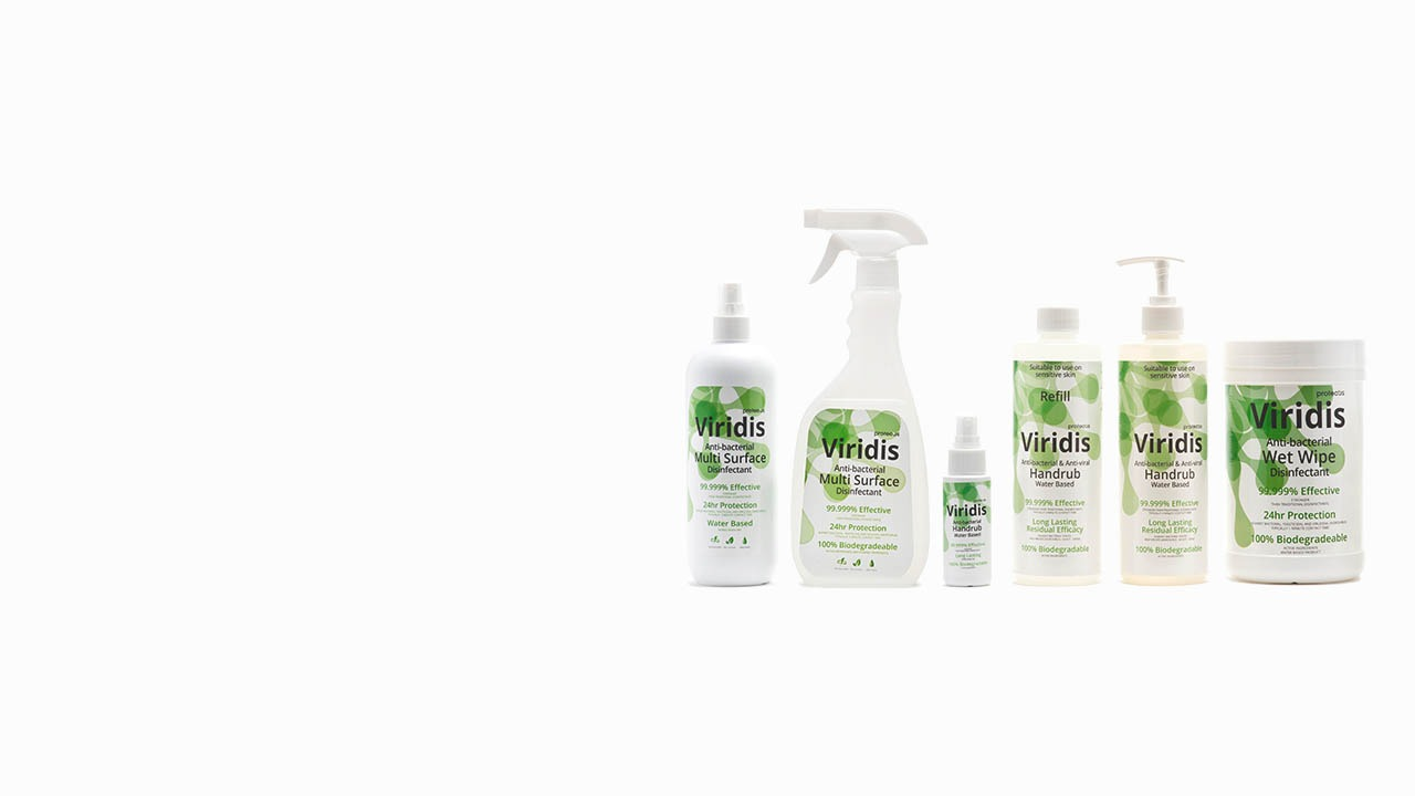 Viridis Anti-bacterial Disinfectant, Hand Sanitiser and Wet Wipes